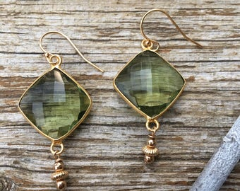 Faceted Green Amethyst Gold Earrings