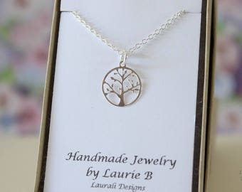 Tree Charm Necklace, Friendship Gift, Sterling Silver, Bestie Gift, Silver Tree, Thank you card, Nature Charm, Layered