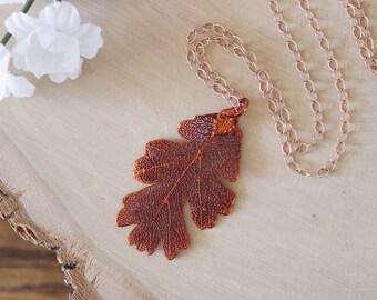 Copper Aspen Leaf Necklace, Real Leaf Necklace, Aspen Leaf, Rose Gold, Leaf Pendant LC106