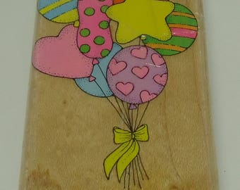 Ballons Wood Mounted Rubber Stamps By Hero Arts F 389 Big Balloons  Birthday, New Year's Eve, Heart, Star, Polka Dots, Stipes