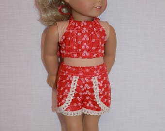 18 inch doll clothes, floral halter top, floral lace trim dolphin shorts , Upbeat Petites