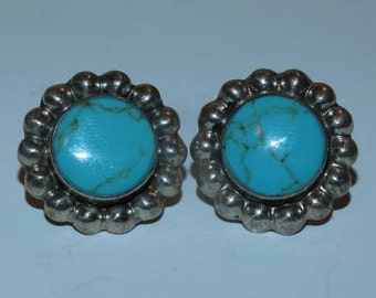 Vintage Mexico 925 Sterling & Turquoise Button Earrings, Post Earrings, Southwestern Turquoise  Earrings, Stud Earrings