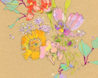 Custom Floral Bouquet Drawing