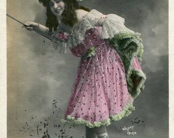 Vintage French Lady RPPC postcard -  VC019