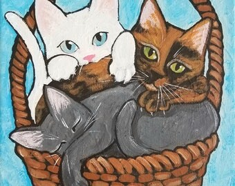 Cat Painting - Original Cat Art - Cat Art - Easter Basket Cats - Cat Folk Art - White Cat - Gray Cat - Tortoiseshell Cat Art - Kittens