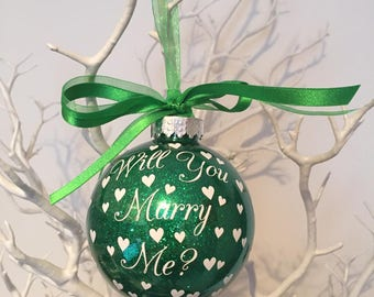Will You Marry Me - personalised Christmas Bauble