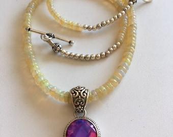 Ethiopian Opal Necklace With Pink Mystic Quartz Pendant