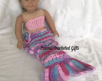 Doll Costume, Mermaid Princess Costume, Handmade Crochet Doll Clothes, Pink Purple Mermaid Costumefor 18 inch Doll, Mermaid Tail for Doll