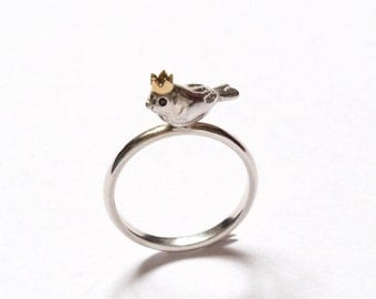 Bird King Ring, Handmade Silver Bird Ring, Gold Crown, Black Diamond Eyes, RockCakes, Brighton UK