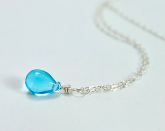 Blue Mermaid Tear Necklace