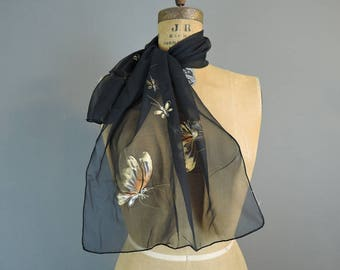 Vintage Silk Scarf Sheer Black with Painted Butterflies, 1960s, oblong 42x17 inches