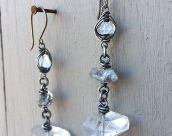 Herkimer Diamond Earrings Dangle Earrings Sterling Silver Earrings Drop Earrings Daniellerosebean Raw Crystal Earrings Black Friday Sale