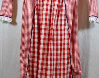 Vintage Dorissa Red and White Checkered Dress with Eyelet and Embroidery -Heidi Dress - Alpine Style - Size 7