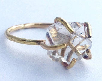 Pyrite Ring Pink Gold Pyrite Chunk Rose Gold