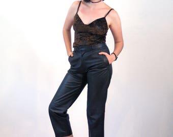 80s Leather Pants M, Black Leather Trousers, J Park Leather Pants, Capri Length Leather Pants, Charcoal Black Capris, Biker Hipster Grunge