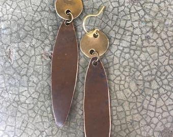 Mixed Metal Long Oval Dangle Earrings Copper + Brass