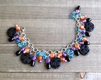 Halloween Charm Bracelet, Halloween Jewelry, Jack o lantern Charm Bracelet, Halloween Bracelet, Silver Pumpkin Jewelry, Black Gothic Pumpkin