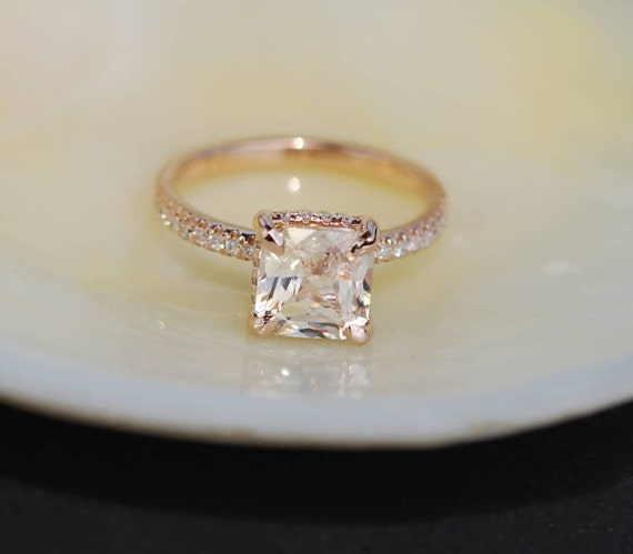 Radiant cut ring Peach Sapphire Engagement Ring square 14k rose gold diamond ring 2.22ct sapphire ring
