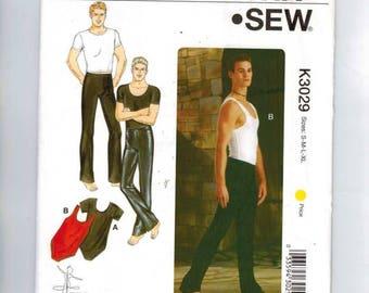 Mens Sewing Pattern Kwik Sew K3029 3029 Mens Dance Wear Leotard Top Pants Stretch Knit Size S M L Xl Chest 34 36 38 40 42 44 46 48 UNCUT