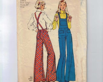 1970s Vintage Sewing Pattern Simplicity 5890 Misses Wide Leg Overalls Back Zipper Hippie Size 8 Bust 31 1/2 1973 70s