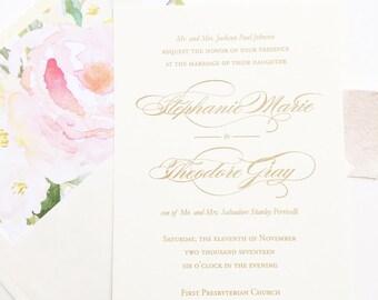 elegant wedding invitation gold wedding invitation calligraphy wedding invite thermography invite - Thermography Wedding Invitations