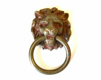 Single Brass Lion Head Drawer Pull With Ring in Its Mouth