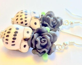 Black and White Owl and Rose Handmade Earrings