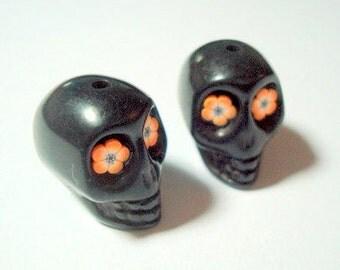 Orange Flower Eyes in Black Day of The Dead 18mm Sugar Skull Beads