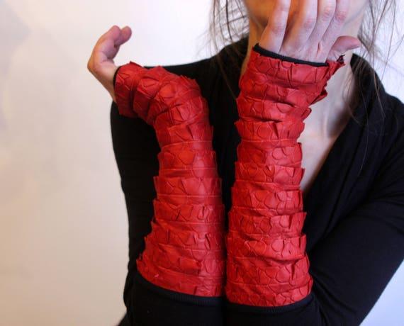 Orange long mittens, lined lycra cotton jersey ruffle