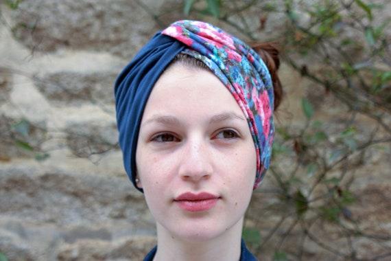 Headband-Turban bicolor blue flowers Retro romantic. Jersey headband.