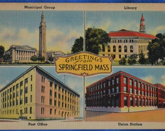 Greetings from Springfield Massachusetts Multi-View Linen Postcard Unused