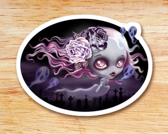 Ghostly Luna Die Cut Vinyl Sticker Decal, Ghost Girl, Halloween