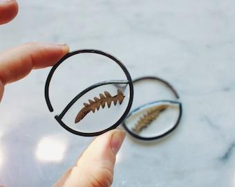 Small Fern Gauged Hoop Earrings ||| In the Looking Glass / Pressed Flower Hoops in 12ga
