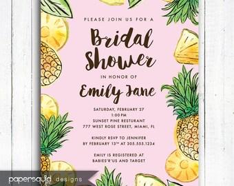 Pineapple Bridal Shower Invitation, Pineapple Invitation, Aloha invitation, Personalized Tropical invitation, Digital File,  Item 194B