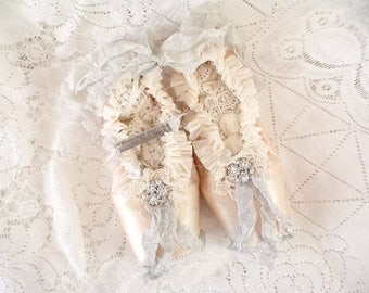 Shabby Rustic Brocante Tattered Ballet Slippers Worn Ballet Pointe Assemblage Art Shoes