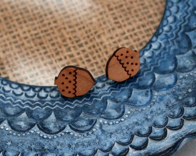 Acorn Earrings, Wooden Acorn Earrings