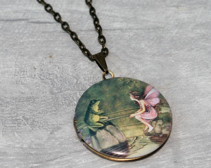 Frog and Fairy Locket Necklace, Frog Necklace, Fairy Pendant, Pink Fairy Necklace