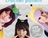 crochet headband pattern, 3 headband pattern pack, sailor moon luna, totoro, pikachu, pokemon, ear warmer, cosplay, halloween costume