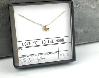 I Love Your To The Moon, Gift for Her, Jewelry Gift, Gifts for Wife, Girlfriend Gift, Gift Jewelry, Dainty Jewelry, Gift for Women