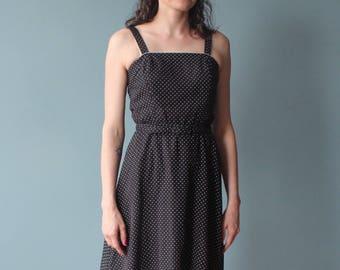 black polka dot summer dress | belted black white tank dress | 80s small