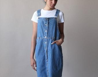 denim overall dress | pinafore dress | 1990s medium
