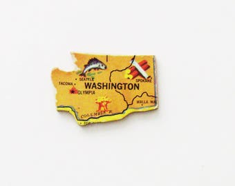 1961 Washington Brooch - Pin / Unique Wearable History Gift Idea / Upcycled Vintage Wood Jewelry / Timeless Gift Under 25