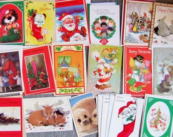 18 Kitsch Vintage Christmas Cards - Collection of 1980s Vintage Unused Xmas Cards with Envelopes