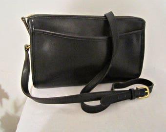 COACH Leather Bag, Black leather Coach, Coach shoulder purse, Cross-body Coach
