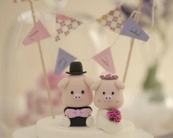 pigs wedding cake topper,piggy wedding cake topper piglet wedding cake topper---k727