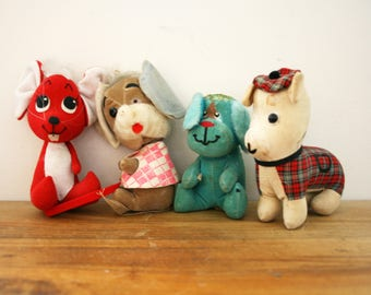 vintage 60s Misfit Toys Instant Collection Dogs & Mice Dawkin Dream Pets Sawdust Stuffed Animal Lot