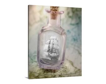 Ship in a Bottle, Nautical Art, Clipper Ship, Wall Art, Tall Ships, Sailing Art, Gift, Romantic Art, Sailboat Art, Framed Canvas Art