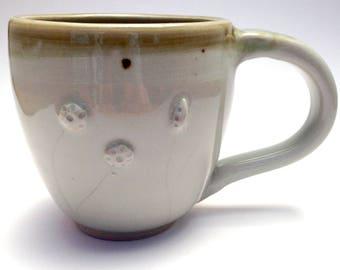 12 oz. White and Celadon Ceramic Mug Prairie Theme