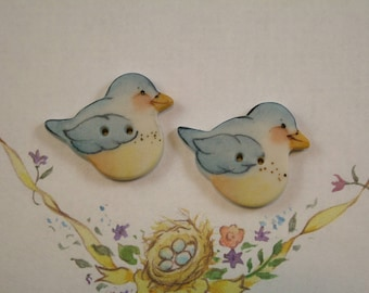 Blue Bird Button set of 2