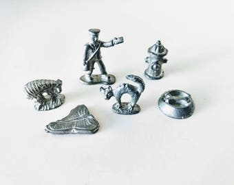 Dog Monopoly Game Pieces Pewter Tokens six pcs Animal Pets Metal Dogopoly, mailman cat fire hydrant dog dish, cake toppers crafting jewelry